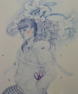 behind blossom/727×606㎜/F20/color pencil on paper/2014