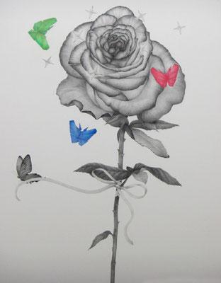ささやかな支配(rose)     1167×910㎜ 色鉛筆・紙