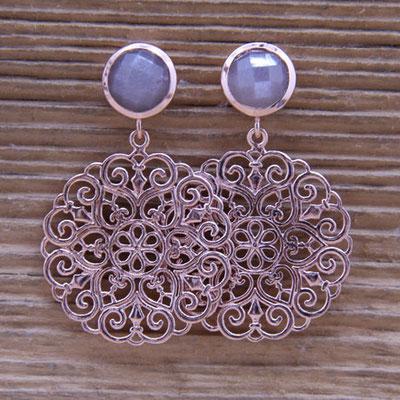 Amulett mit Chocolate Mondstein Silber 925 rosé vergoldet