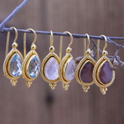 Ohrhänger Tropfen Silber 925, vergoldet mit Regenbogen Mondstein, Chocolate Mondstein, Topas