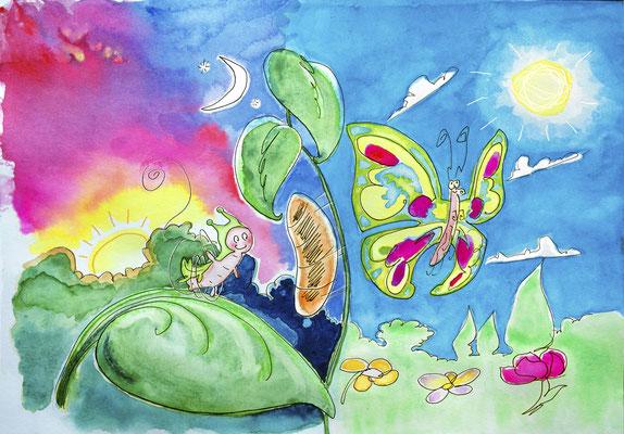 <h4>Chenille Papillon</h4><p>Illustration aquarelle - Presse Jeune Public</p>