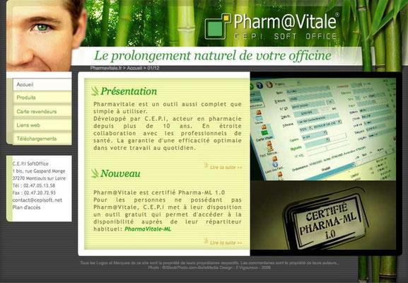 <h4>Pharmavitale</h4><p>Site de lancement du produit (services aux pharmacies)</p>