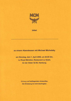 Pressdinner MCM Abendessen mit Michael Michalsky