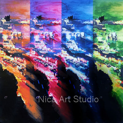 Harbour in 4 colors, 2018, 30 x 30 cm, photography with oil color
