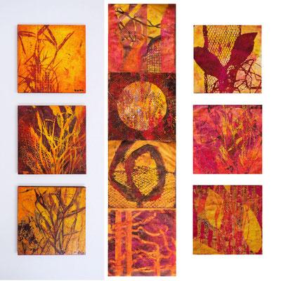 Monotypien, je 20 x 20 cm, mit Acrylfarbe handgedruckt, teils auf Platten kaschiert