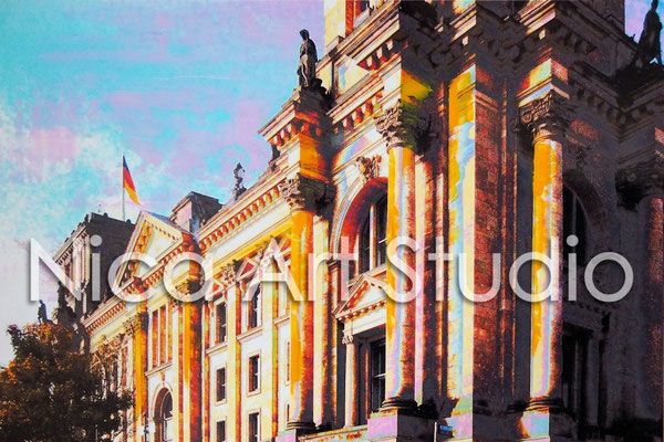 B29, Reichstag facade, 2016, 30 x 20 cm, photography with oil paint
