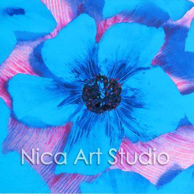 Blaue Blumen, 2015, 20 x 20 cm, Fotografie mit Ölfarbe