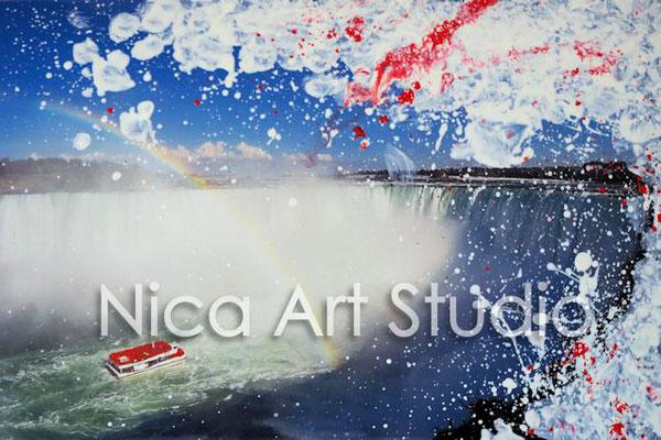 Niagara Falls, 2017, 30 x 20 cm, Fotografie mit Ölfarbe