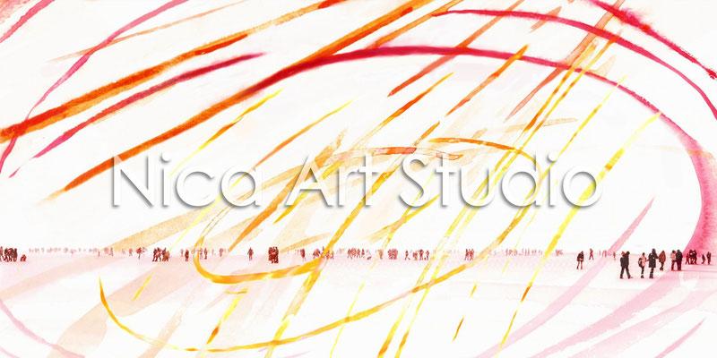 Die Alster, 2012, 140 x 70 cm, Print auf Leinwand (von Fotobearbeitung + Acrylmalerei)