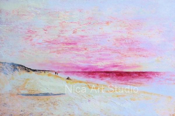 Strand in rosa, 2019, 30 x 20 cm, Fotografie mit Ölfarbe