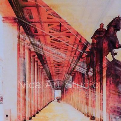 B41, Gang im Neuen Museum, 2017, 20 x 20 cm, Fotografie mit Ölfarbe