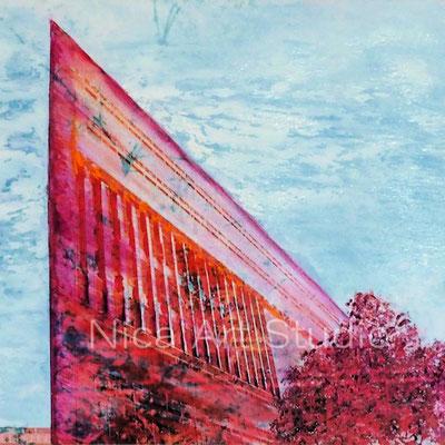 Deichtor-Center in pink, 2017, 20 x 20 cm, Fotografie mit Ölfarbe