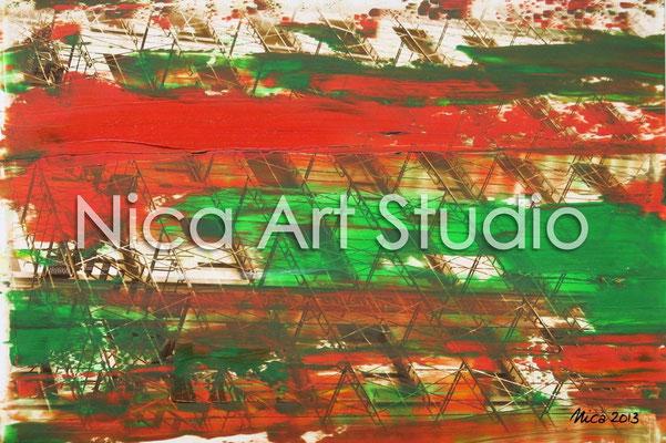 Fassade orange-grün, 2013, 30 x 20 cm, Fotografie mit Ölfarbe