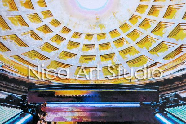 Panteon, 2015, 30 x 20 cm, Fotografie mit Ölfarbe