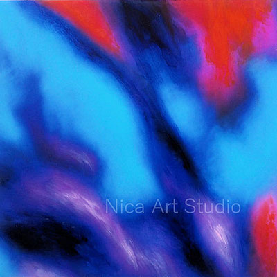 Abstraction in blue, 2020, 20 x 20 cm, photography with oil color