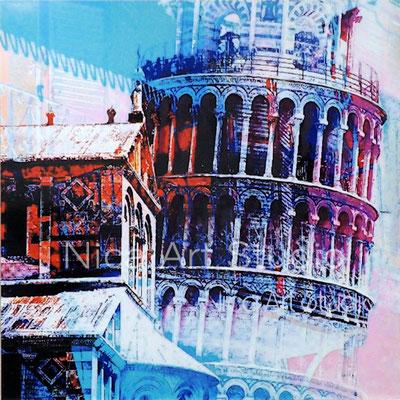 Pisa Architektur, 2018, 60 x 60 cm, Alu Dibond Druck mit Ölfarbe