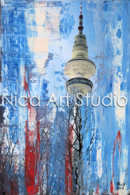 Fernsehturm weiß-rot, 2013, 20 x 30 cm, Fotografie mit Ölfarbe