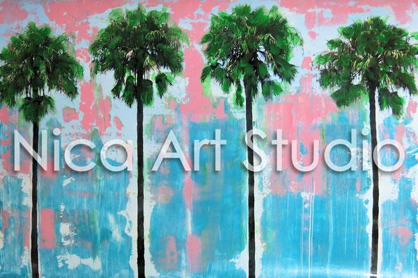 Palmen, 2014, 30 x 20 cm, Fotografie mit Ölfarbe