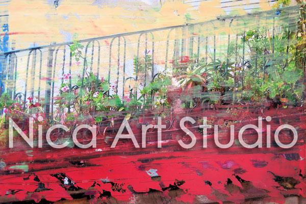 Balkon, 2014, 30 x 20 cm, Fotografie mit Ölfarbe