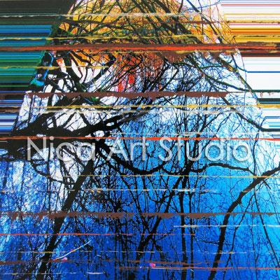 Spiegelung mit Streifen, 2015, 20 x 20 cm, Fotografie mit Ölfarbe