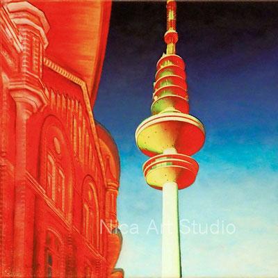 Messe und Turm, 2019, 40 x 40 cm, Leinwanddruck mit Acrylmalerei, UV- Schutz