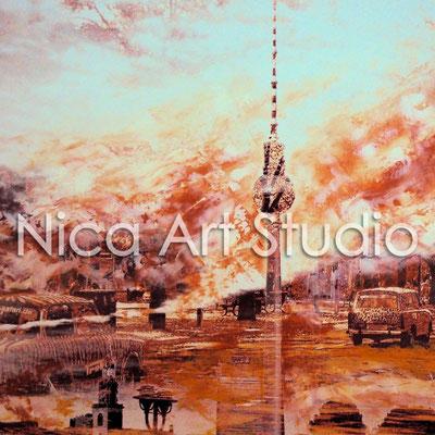 B15, Trabbis durch Berlin & Alex, 2015, 20 x 20 cm, Fotografie mit Ölfarbe