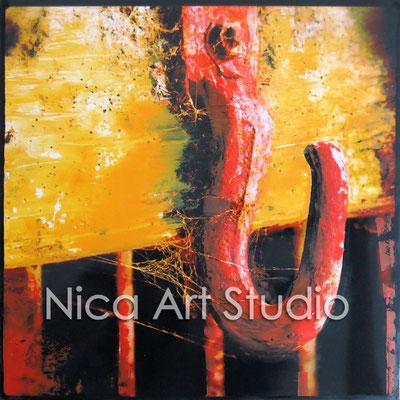 Stallhaken, 2015, 20 x 20 cm, Fotografie mit Ölfarbe