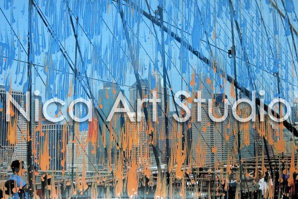 Skyline Brooklyn Bridge, 2014, 30 x 20 cm, Fotografie mit Acrylfarbe
