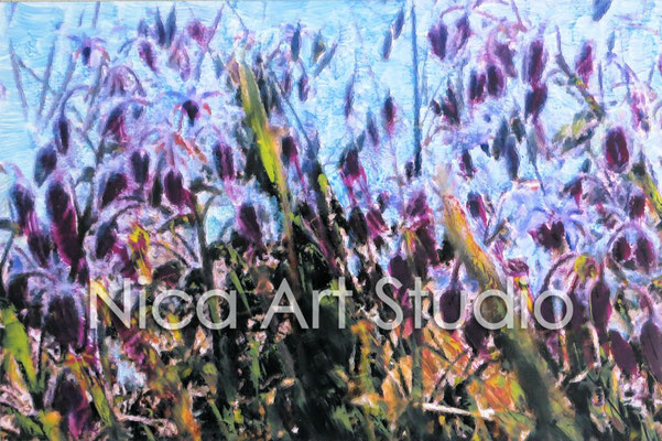 Flowers at the beach, 2015, 30 x 20 cm, photograph with oil paint