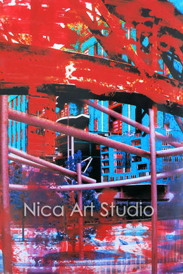 Magellan-Terrassen, 2015, 20 x 30 cm, Fotografie mit Ölfarbe