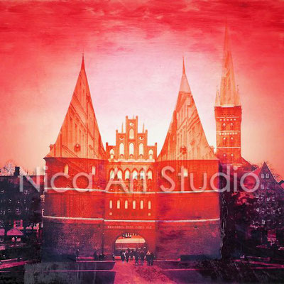 Holstentor, 2017, 20 x 20 cm, photography with oil color