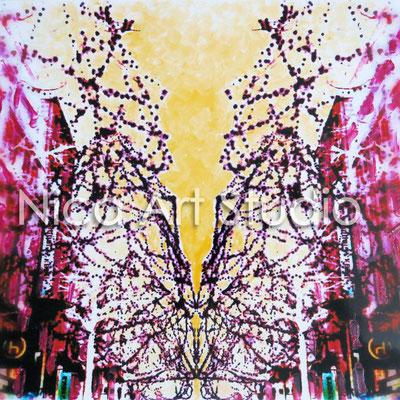 Mönckebergstraße, 2015, 20 x 20 cm, Fotografie mit Ölfarbe