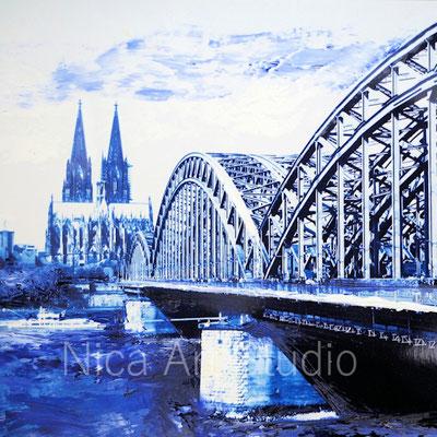 Köln, 2017, 20 x 20 cm, Fotografie mit Ölfarbe