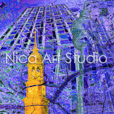 Towers of Hamburg blue-yellow, 2014, print on artistspaper