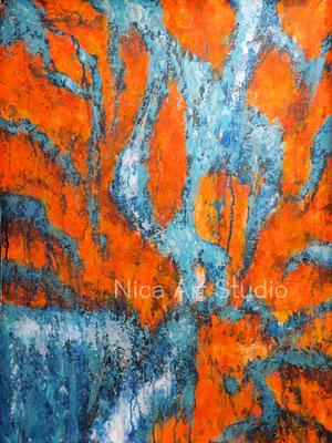 Fließend, 2020, 49 x 63 cm, Acrylmalerei  auf Papier
