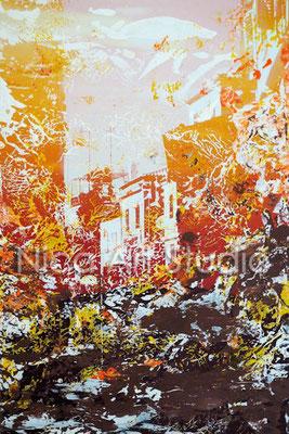 Sonnenuntergang Abstraktion 2, 2017, 20 x 30 cm, Fotografie mit Acrylfarbe