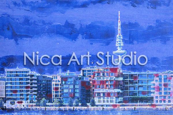 Dallmannkai blau, 2015, 30 x 20 cm, Fotografie mit Ölfarbe