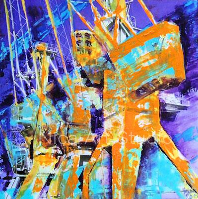 Harbour cranes, 2014, 30 x 30 cm, print on aluminum with oil color