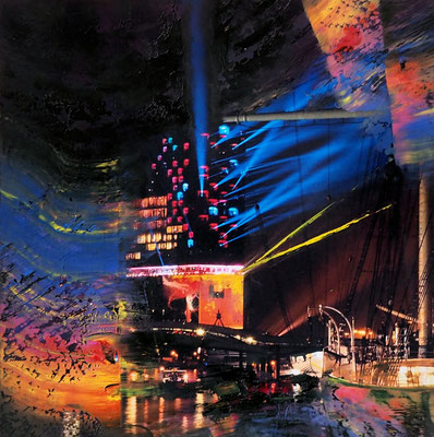 Elbphilharmonie with colors, 2021, 20 x 20 cm, photography with oil color