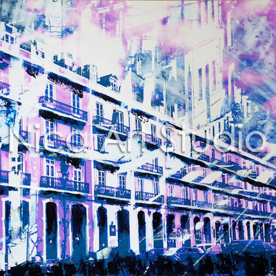 Facades of houses, 2016, 30 x 30 cm, photograph with oil paint