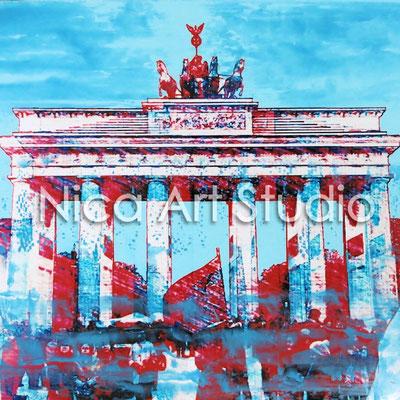 B1, Brandenburger Tor, 2015, 20 x 20 cm, Fotografie mit Ölfarbe