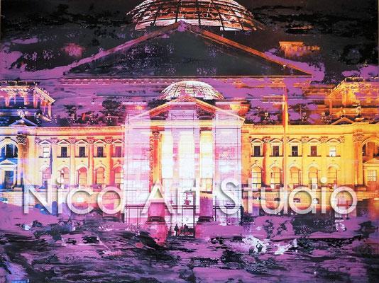 B30, Reichstag bei Nacht, 2016, 40 x 30 cm, Fotografie mit Ölfarbe