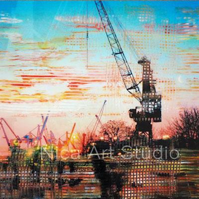 Kräne im Sonnenuntergang, 2018, 20 x 20 cm, Fotografie mit Ölfarbe