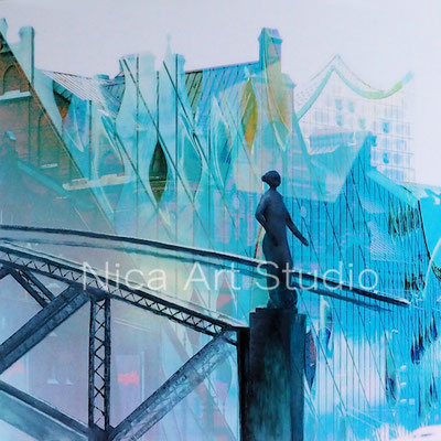 Brooksbrücke & Elphifassade, 2018, 60 x 60 cm, Alu Dibond Druck mit Ölfarbe