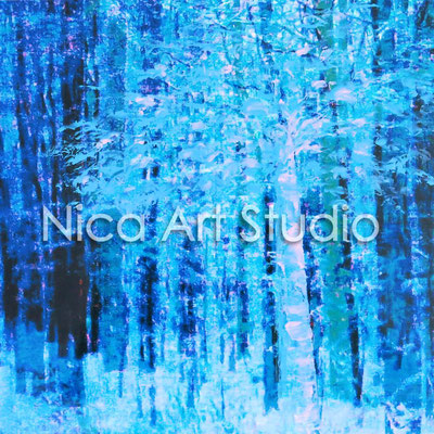 Wald, 2015, 20 x 20 cm, Fotografie mit Ölfarbe