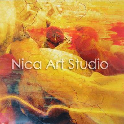 Kürbisse, 2015, 20 x 20 cm, Fotografie mit Ölfarbe