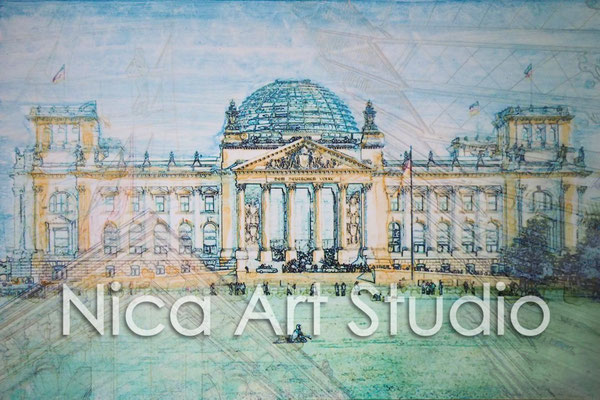 B31, Reichstag mit Kuppelinnern, 2016, 30 x 20 cm, Fotografie mit Aquarell
