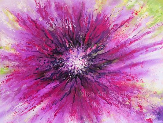 Blumen Abstraktion, 2021, 40 x 30 cm, Ölmalerei auf Fotografie
