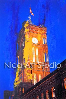 B35, Rotes Rathaus, 2017, 20 x 30 cm, Fotografie mit Ölfarbe