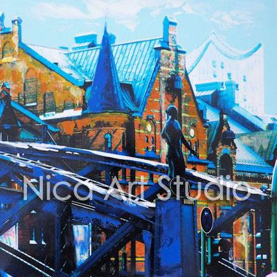 Storehouses & bridge, 2016,  20 x 20 cm, photography with oil color